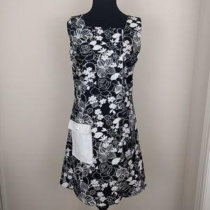 Vintage 1960s mod floral black mini dress sz sm